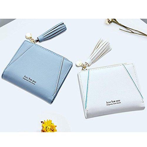 Donna Uzanesx Mini Bifold Tasca Purse White Portafoglio Blue Pelle color Per Ladies Nappa In xwwI45qrd