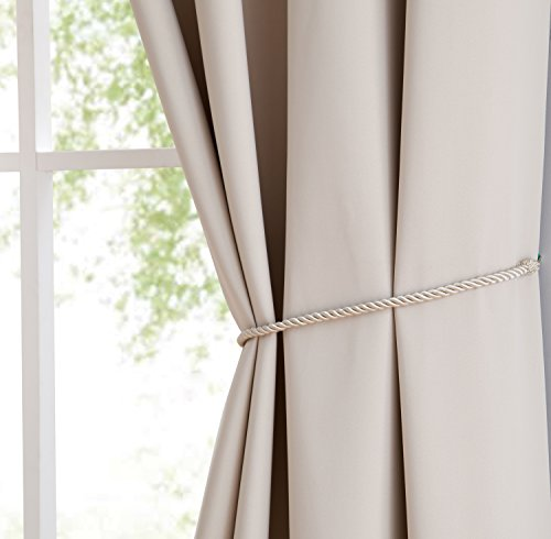 """Erica - Premium Rod Pocket Blackout Curtains with Tiebacks - 2 Panels - Total 108 Inch Wide (54 Each Panel) - 84 inch Long - Solid Thermal Insulated Draperies (54"""" W x 84"""" L - Each Panel, Ivory) - PACKAGE INCLUDES: 2 rod pockets curtain panels and 2 rope tiebacks. PERFECT SIZE: 54 inches wide x 84 inches long each. Total size 108 inches wide by 84 inches long ROD POCKET: Easy to hang rod pocket - Fits up to 2.5 inch curtain rod. Side hem half inch and bottom hem 2 inch - living-room-soft-furnishings, living-room, draperies-curtains-shades - 41tL490%2BlyL -"""