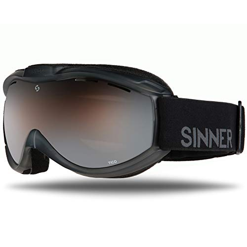 (SINNER Ski Goggles - Double Lens Gold Mirror Ski & Snowboard Unisex Goggles with 100% UV Protection (Matte Black))