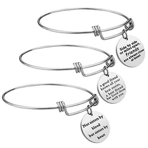 Best Friend Gift Charm Best Friend Gift Charm Bracelet - 3 PCS Stainless Steel Expendable Inspirational Bangle Bracelets BFF Jewelry Set Christmas Gifts Graduation Gifts Birthday Gifts (3 Pcs- White)