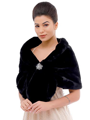Aukmla Black Faux Fur Wrap Bridal Wrap Stole Wedding Fur Shrug Faux Fur Cape with Stunning Rhinestones - Lager Lucky