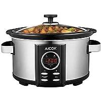 Cocción Lenta eléctrica programable aicok Slow Cooker con tapa de cristal templado y jarra extraíble en cerámica, temperatura y duración regulables, 3.5L, Negro