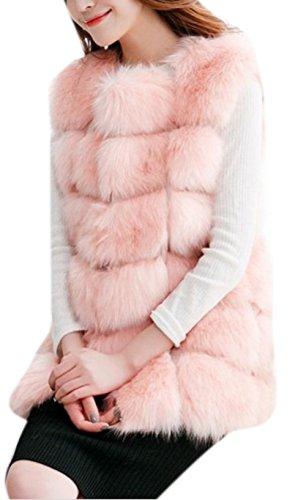 Enlishop Women's Winter Warm Plus Size Waistcoat Long Faux Fur Vest Jacket Pink