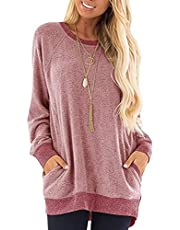 imrusan Women's Color Block Long Sleeve Round Neck with Pocket T Shirts Casual Blouses Sweatshirts Tunic Tops, S-2XL