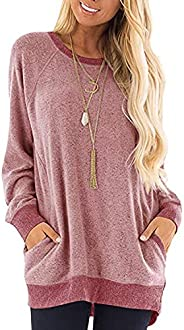 imrusan Women's Color Block Long Sleeve Round Neck with Pocket T Shirts Casual Blouses Sweatshirts Tunic T