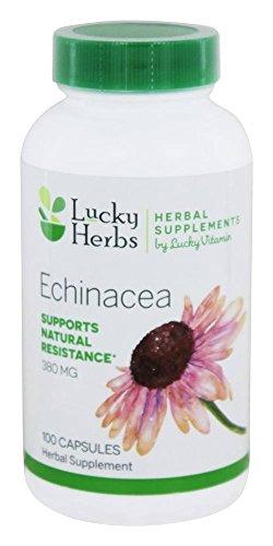 Echinacea Herb 100 Capsules (LuckyHerbs - Echinacea Herb Echinacea Purpurea by LuckyVitamin 380 mg. - 100 Capsules)