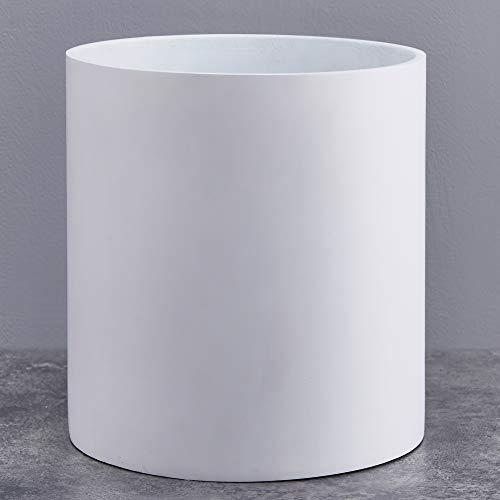 FaithLand Plant Pot 12 inch - Perfectly Fits Mid-Century Modern Plant Stand - Drainage Plug - Matte White ()