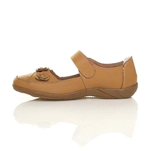 Confort Femme Chameau Un Clair Marche Sandales Chaussures Brun Cuir Velcro Pour Fermeture Classique De 5wqxTIXOn