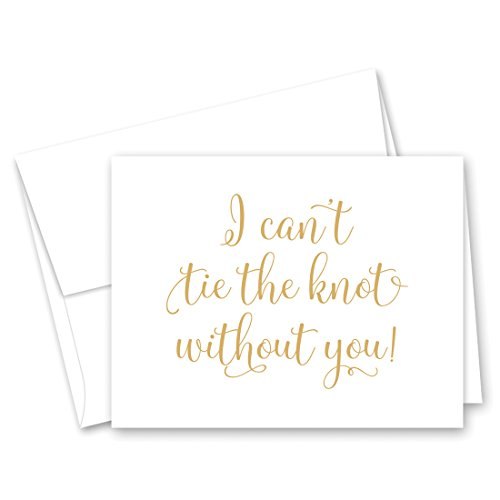 - 12 cnt Will You Be My Bridesmaid Cards I Can't Tie the Knot Without You (Gold)