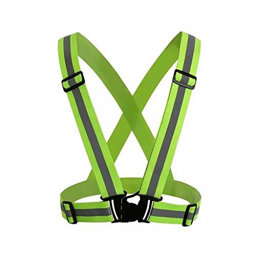 Surex High Visibility Protective Safety Reflective Vest Belt Jacket, Night Cycling Reflector Strips Cross Belt Stripes Adjustable Vest – Green Price & Reviews
