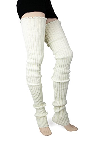 Foot Traffic Super Long Cable Knit Leg Warmers in Ivory ()