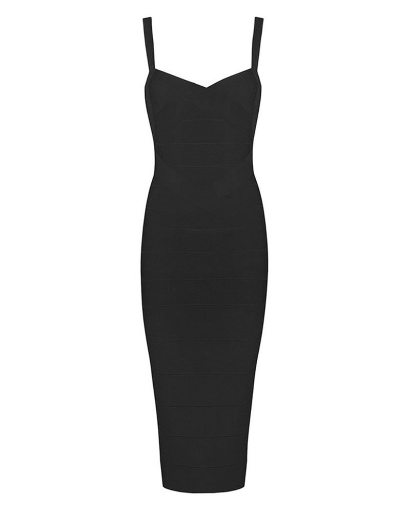 Whoinshop Women's Rayon Strap Celebrity Midi Evening Party Bandage Dress (M, Black)
