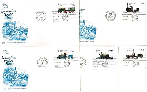Locomotives Booklet - United States Scott 2362-2366 22c Locomotives Booklet Pane Singles 1987 Baltimore, MD 21233 Illustrated First Day of Issue. Set of Five Artcraft cachets. Unaddressed.