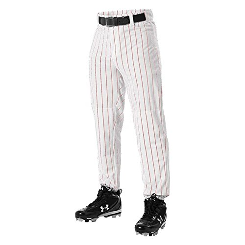 DON ALLESON 605PIN BASEBALL PINSTRIPE mens adult PANTS A Red M (Alleson Apparel Don)