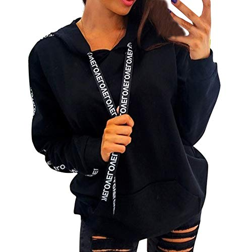 haoricu Women's Hot Style Plus Size Long Sleeve Solid Sweatshirt Hooded Pullover Tops Shirt Teen Girl Letter Print Hoodies Black