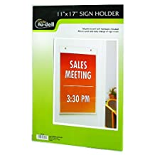 NuDell 11-Inch X 17-Inch Portrait Wall Mount Plastic Sign Holder, Clear