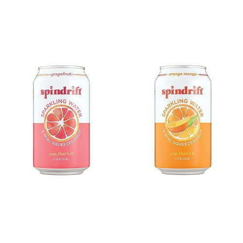 Grapefruit and Orange Mango Sparkling Water Bundle Pack, 12-Fluid-Ounce Cans, Pack of 48 by Spindrift