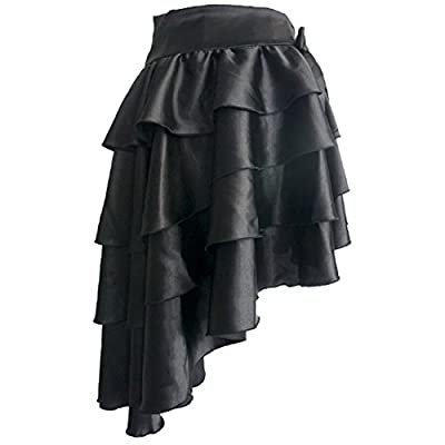 Aiuem Steampunk Skirts Womens Black&Brown Skirts Long Low Waist Joint Ruffles Gothic Skirt