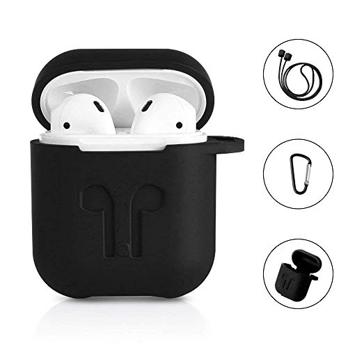 AirPods Protective Case, 3 in 1 Silicone Headphones Accessories Cover Skin Dustproof for Apple Airpods Charging Case with Keychain and Sports/Anti-Lost Strap(Black)
