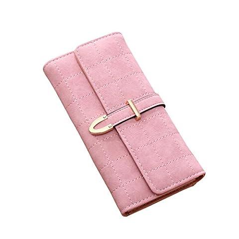 Kukoo Women Suede Leather Long Wallet Argyle Plaid Pattern Slip-on Clutch Bag Credit Card Holder - Argyle Purse