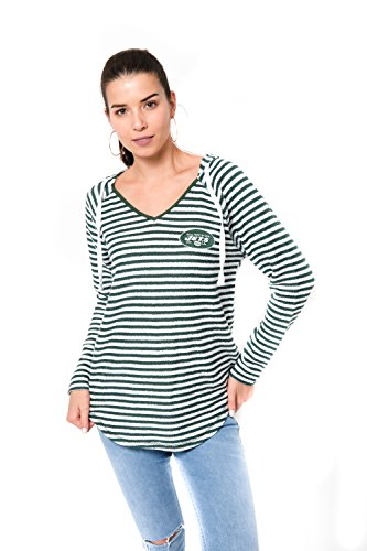 Icer Brands NFL Women's New York Jets Hoodie Pulllover Sweatshirt V-Neck Stripe, Large, Green