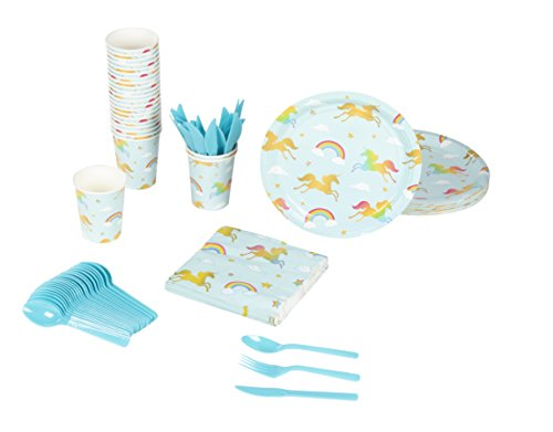 Disposable Dinnerware Set - Serves 24 - Rainbow Unicorn Party Supplies - Kids Birthday Parties, Includes Plastic Knives, Spoons, Forks, Paper Plates, Napkins, -