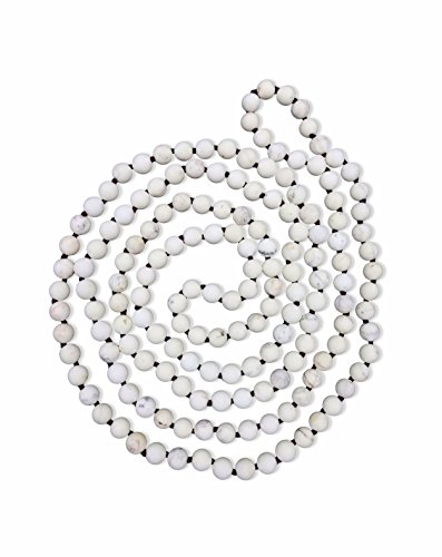 BjB Long Endless Matte Finish Semi-Precious Stone Necklace, 60 Inches Long. (White Magnesite Stone)