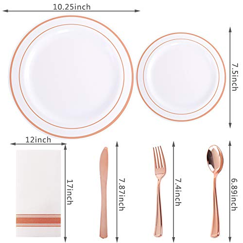 200 pieces Rose Gold Plastic Plates,Rose Gold Silverware, Rose Gold Cups, Linen Like Paper Napkins, Rose Gold Disposable Flatware, Enjoylife (Rose Gold, 200) by EnjoyLife Inc (Image #1)