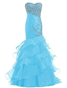 Charmingbridal Fashion Mermaid Beaded Organza Formal Gown Long Evening Prom Dress