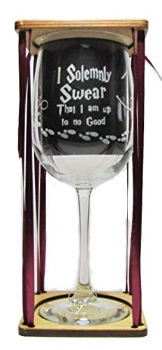 (I Solemnly Swear That I Am Up To No Good BIG 18.5 oz. 360 Degrees Engraved Wine Glass with Charm)