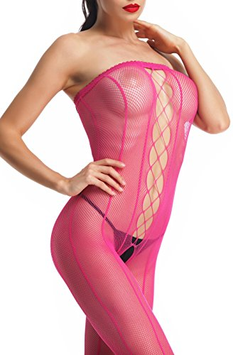 Amoretu Womens Sheer Strapless Crotchless Bodystocking Lingerie, Rose, One Size fits US 4-12 (Pink Spandex Sheer Stockings)