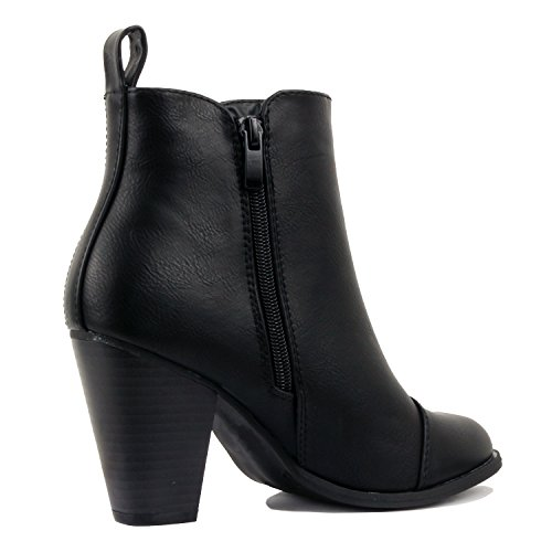 Boots Blackv2 Ankle Closed Block Comfortable Pu Mid Heel Womens Bootie Heart Chunky Toe Guilty qp7wPP