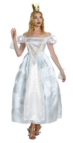 Deluxe White Queen Costume - Medium - Dress Size 8-10 - Alice In Wonderland White Queen Costumes