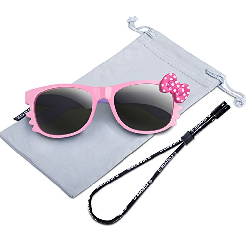 RIVBOS Rubber Kids Polarized Sunglasses With Strap Glasses Shades for Boys Girls Baby and Children Age 3-10 RBK002 (3376-pink)