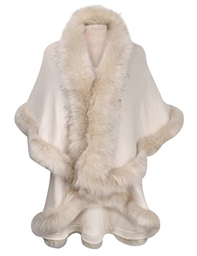 ZLYC Women Fine Knit Open Front Faux Fur Trim Layers Poncho Cape Cardigan Sweater (White)