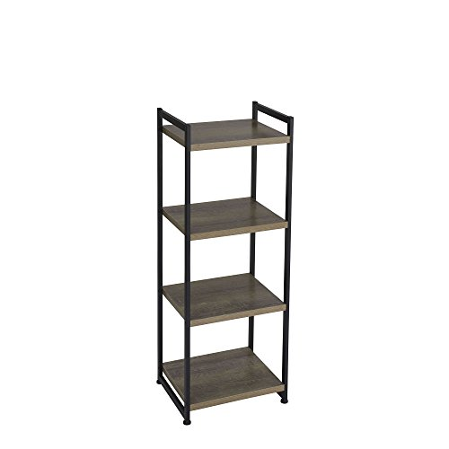 Household Essentials 4 Tier Storage Tower Shelf with Metal, Grey Shelves - Black Frame, Ashwood