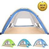 KEUMER Large Pop Up Beach Tent Beach Umbrella Automatic Sun Shelter Cabana Easy Set Up Light Weight Camping Fishing Tents 4 Person Anti-UV Portable Sunshade for Family Adults