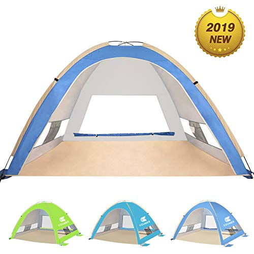 KEUMER Venustas Large Pop Up Beach Tent Automatic Sun Shelter Cabana Easy Set Up Light Weight Camping Fishing Tents 4 Person Anti-UV Portable Sunshade for Family Adults (Best Pop Up Shelter)