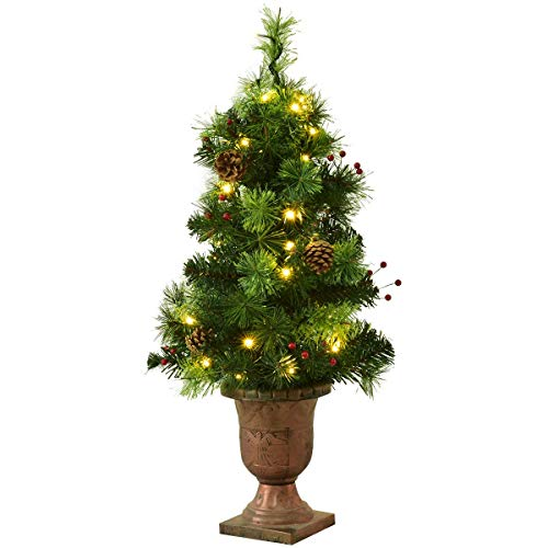 Goplus 3 FT Christmas Tree Pre-Lit Tabletop Artificial Entrance Tree with 40 Led Lights, Gold Urn Base, Pine Cones and Red Berries (3 FT Led Light)