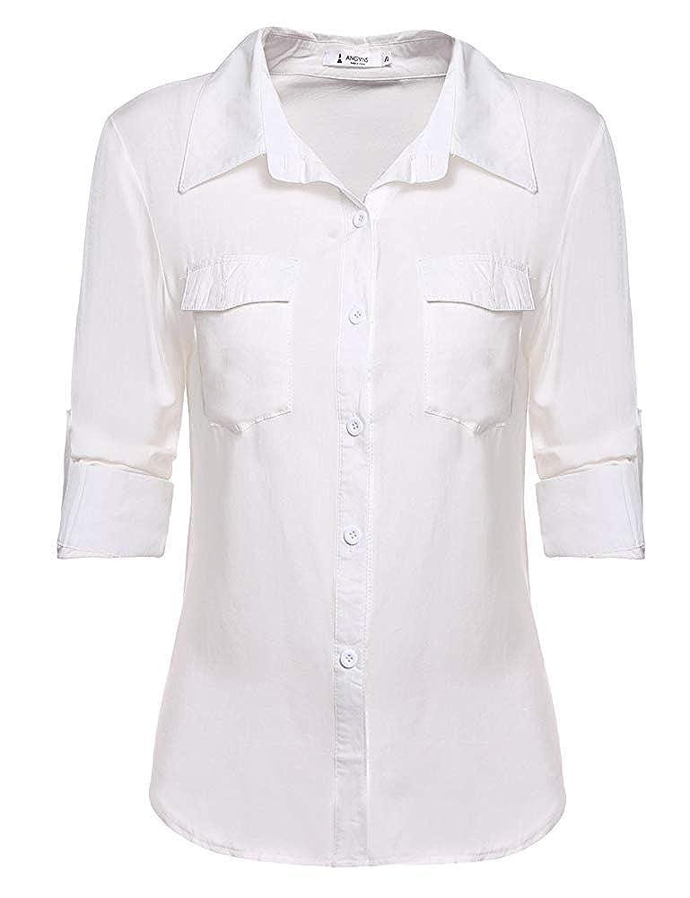 5 arfurt Women's Long Sleeve Button Down Casual Dress Shirt Business Blouse