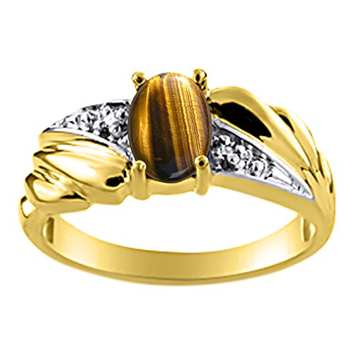Womens Tiger's Eye & Diamond Ring Yellow Gold Plated Silver