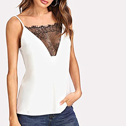 Dentelle Shirt Manches Nu T Angelof Chemisier DBardeur Blouse Fluide Sans Transparent Bretelle Femme Blanc Dos 8aFwn7qT