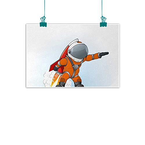 "Unpremoon Fantasy,Canvas Wall Art Astronaut Man Going to Space with Rocket Galactic Journey Science Illustration W 36"" x L 32"" Personalized Wall Decals Orange Grey Red"