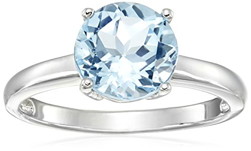 Round Blue Topaz Prong - Sterling Silver Blue Topaz Solitaire Ring in Sterling Silver, Size 8