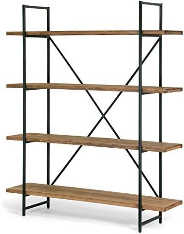Glamour Home Ailis 75″ Brown Pine Wood Metal Frame Etagere Bookcase Four-Shelf Media Center
