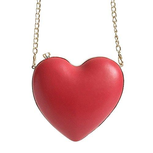 Korean Fashion Bag New Heart-shaped Small Bag 2018 Korean Fashion Simple String Bag Diagonal Package Gules Gules