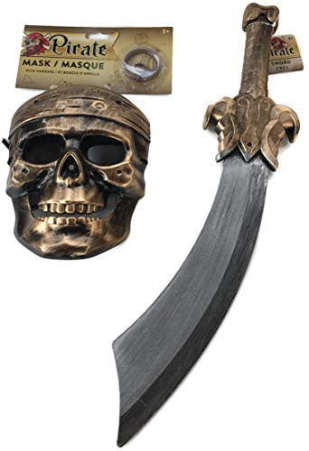 PROSPERITY DEVINE Plastic Pirate Halloween MASK Earing & Pirate Sword