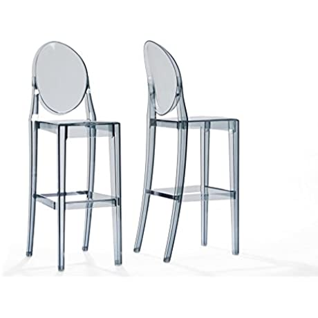 Crystal Acrylic Counter Stool Set Of 2 Transparent Smoke