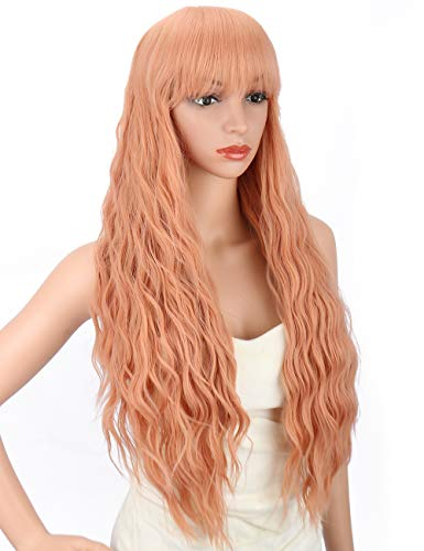 (Kalyss Women's Pink Synthetic Long Curly Wavy Wigs with Hair Bangs Heat Resistant Synthetic Full Hair Wig for Women Cosplay Costume Party Wig)