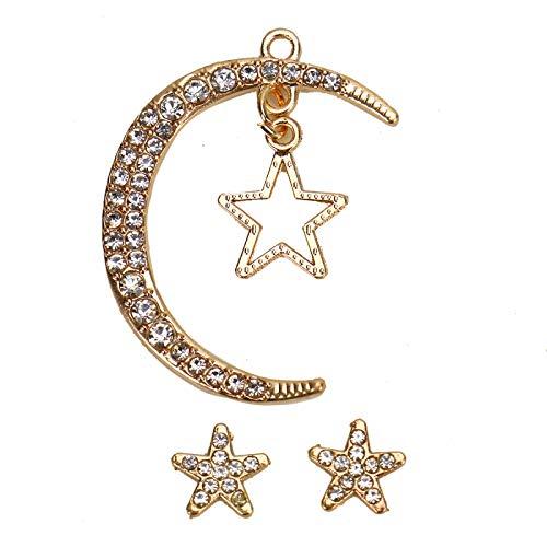 d Rhinestone Moon Star Charms Pendant Jewelry Making ()